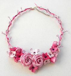 Statement Spring Pink Flower necklace  Roses by insoujewelry, $70.00