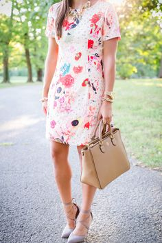 floral shift dress, suede lace up pumps, fall pumps, tory burch robinson tote, statement necklace, transitional outfit // a southern drawl
