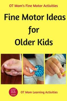 Tips and ideas to work on fine motor skills activities with older kids. You are in the right place about Montessori Materials by age Here we offer you the most beautiful pictures about the Montessori Visual Motor Activities, Fine Motor Activities For Kids, Activities For Teens, Autism Activities, Child Development Activities, Physical Activities, Kids Motor, Time Activities, Occupational Therapy Activities