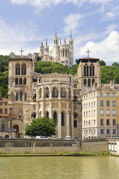 Cathedral Saint Jean and Basilica Notre-Dame de Fourvière, Lyon - France #travel