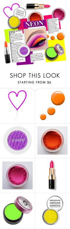 """""""Crazy Neon"""" by city-mom ❤ liked on Polyvore featuring beauty, A Little Lovely Company, Topshop, Bobbi Brown Cosmetics, Obsessive Compulsive Cosmetics, MAC Cosmetics, neon, polyvoreeditorial, polyvorecontest and neonmakeup"""