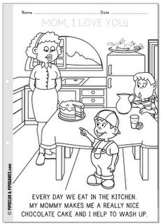 """MOM, I LOVE YOU!"" Mother's Day coloring page freebie #coloring #reading #uppercase #preschool #preK"