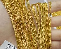 18 inches 2 mm 22kt Solid Gold Chain Necklace For men women   Etsy Thin Gold Chain, Gold Chains, Silver Chain Necklace, Men Necklace, Ruby Wedding, Wedding Anniversary Gifts, Gold Style, Photo Jewelry, Handmade Silver