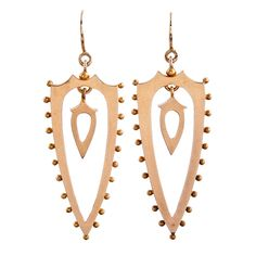 Antique American-Made Shield-Shaped Open Drop Victorian Earrings | From a unique collection of vintage drop earrings at https://www.1stdibs.com/jewelry/earrings/drop-earrings/