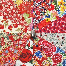 """12 Liberty Lawn fabric 5"""" Patchwork Charm Squares *RED BOUQUET*"""