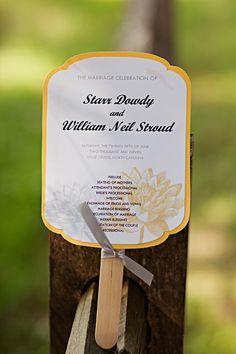 Yellow and Gray Vintage Wedding fan program