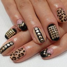 Black and nude stud nails