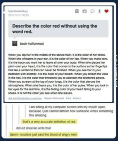 Describe the color red, without using the word