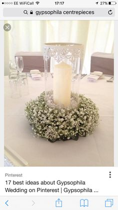 Love These Vintage Style Hurricane Lamp With Rings Of Gypsophila Wedding Flower Centerpieces That We Created For One Of Our Brides In April 2014 They Looked Stunning. Wedding Table Centres, Wedding Table Centerpieces, Wedding Table Settings, Flower Centerpieces, Wedding Decorations, Wedding Ideas, Gypsophila Wedding, Wedding Flowers, Wedding Bands