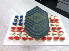 315th Airlift Wing Chief MSgt. promotional ceremony cake. Military Cake, Themed Cakes, Party Themes, Celebrations, Birthday Cake, Desserts, Food, Theme Cakes, Tailgate Desserts
