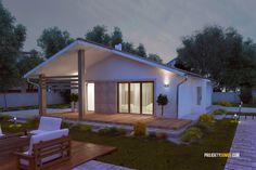 Nízkorozpočtový projekt domu bungalov na úzke pozemky Exterior, House Plans, Architecture, Outdoor Decor, Home Decor, Houses, Type 1, Arquitetura, Decoration Home