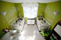 Love this baby girl nursery! Imagine in purple, paper lanters, white wall accents and baby names. Also cute changing table dresser.