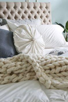 Chunky Knit Blanket, Merino Wool Blanket,Arm Knit Blanket, Giant Knit  Blanket, Double Ribbing Pattern
