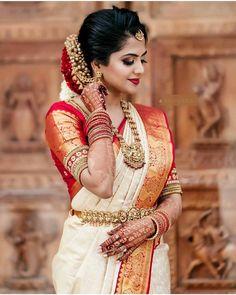 South Indian Wedding Saree, Indian Wedding Bride, Indian Bridal Sarees, Hindu Bride, Wedding Silk Saree, Indian Bridal Outfits, Indian Bridal Fashion, Tamil Wedding, Punjabi Wedding