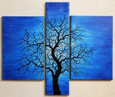 Titre de l'œuvre: Silhouette d'arbre onduleux. Triptyque réalisé à la peinture acrylique (Studio, pébéo) et au Posca (style de peinture acrylique) sur châssis en bois entoilé en Polycoton (Fibres mélangées), œuvre vernie à la bombe aérosol brillante (effet léger). Prix : 250 Euros. Pour acheter cette œuvre, rendez-vous sur : http://www.artmajeur.com/fr/art-gallery/gallery/1520011/9146866/silhouette-d-arbre-onduleux  #peinture #triptyque #silhouette #arbre #onduleux #art #contemporain #Posca