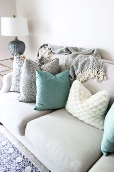 Neutral Living Room, Printed Pillows, Turquoise Velvet Pillow,