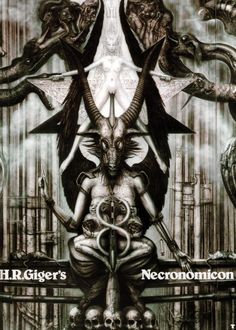 H.R. Giger (known for disturbing and often bio-mechanical visuals) was known to incorporate Satanic imagery into his work (seen here with the standard pose of Satan, the head of the Baphomet, and a nude alter).