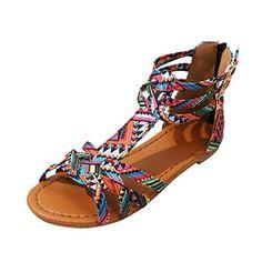 b40fb8467552 BeautyTop Sandales Plates de Style Bohème pour Femme Multicolore Femmes  Bohême Tropeziennes Strass Blanche Marron Grande