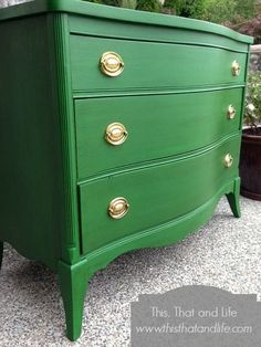 Benjamin Moore's Clover Green looks boldly Irish on the stunning dresser! #StPatricksDay