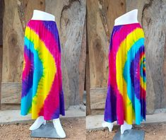Colorful Tie Dye Rainbow Skirt Maxi Skirt Boho Hippie Gypsy | Etsy Maxi Skirt Boho, Boho Skirts, Gypsy Party, Tie Dye Rainbow, Festival Skirts, Shibori Tie Dye, Hippie Gypsy, Party Wear, Tie Dye Skirt