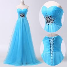 A Line Romance New Long Blue Prom Gowns Evening/Formal/Party/Cocktail/Prom Dress #GraceKarin #BallGown #Formal