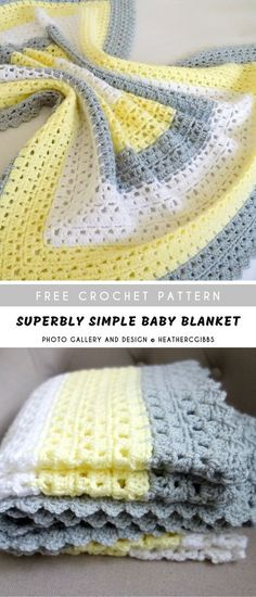 Superbly Simple Baby Blanket - Baby Wear This easy crochet cute bab. Superbly Simple Baby Blanket – Baby Wear This easy crochet cute baby blanket is real Crochet Baby Blanket Free Pattern, Crochet For Beginners Blanket, Crochet Afghans, Crocheted Blankets, Crochet Patterns Baby, Crochet Ideas, Diy Crochet, Crochet Designs, Easy Crochet Baby Blankets