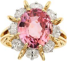 Padparadscha Sapphire, Diamond, Platinum, Gold Ring, Oscar HeymanBros