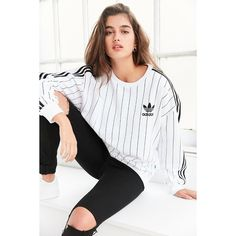 adidas Originals SOS Tennis Pullover Sweatshirt ($55) ❤ liked on Polyvore featuring tops, hoodies, sweatshirts, white pullover sweatshirt, stripe top, adidas pullover, pullover sweatshirt and striped top