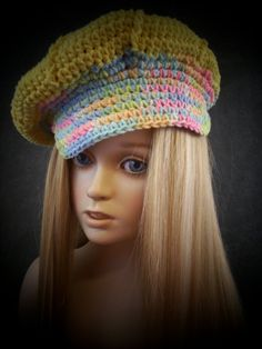 Crochet Yellow Newsboy Cap with varigated Trim for by UniquelyEwe