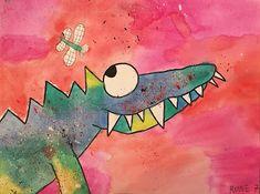 Art Room Britt: Catherine Rayner & # Solomon the Crocodile & # en acuarela un . First Grade Art, Animal Art Projects, Jr Art, Kids Art Class, School Art Projects, Kindergarten Art, Art Lessons Elementary, Art Classroom, Art Club