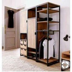 Resultado de imagen para wood and steel wardrobe ideas Steel Furniture, Industrial Furniture, Furniture Plans, Diy Furniture, Furniture Design, System Furniture, Office Furniture, Painted Furniture, Bedroom Furniture