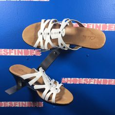 a0b811f5b153 CLARKS White Strappy Leather Sandals Slides Heel 8 M  fashion  clothing   shoes  accessories  womensshoes  sandals (ebay link)
