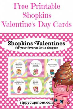 Free Printable Shopkins Valentine's Day Cards!