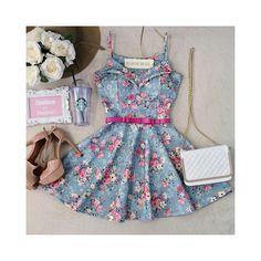 Vestido Alcinha NEOPRENE C/ Bojo  Princesa Carla ( Estampa Mini flores/ Azul) - Melrose Brasil