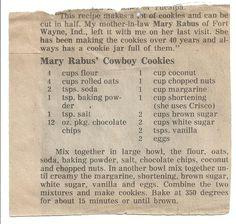 Laura Bush Cowboy Cookies Recipe | Free Printable Vintage Cookie Recipes ~ Cowboy & Raggedy Ann Cookies ...