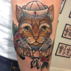 Neotraditional sailor cat tattoo by Lauren Gow #NeoTraditional #Tattoo #Sailor #Cat #StayYou