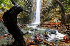 Cyprus Platres village. Myllomeris waterfall