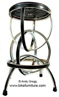 Bicycle wheel stool, how cool!