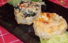 Canastitas de verdura y cuatro quesos