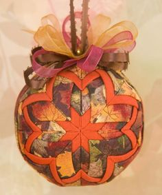 Gorgeous! Quilted Fall Ornament /Brown and Orange   by YouniqueOrnaments, $25.00