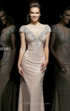 Beaded Short Sleeved Gown by Sherri Hill 11103