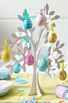For a stunning table centrepiece, pick up our wooden Easter tree and decorate with these cute painted Easter egg decorations. Available in store and online. Great way to display Easter gifts Hoppy Easter, Easter Bunny, Easter Eggs, Easter Table, Easter Party, Easter Tree Decorations, Diy Osterschmuck, Diy Ostern, Easter Celebration