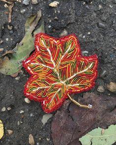 Bead embroidery maple leaf brooch beaded