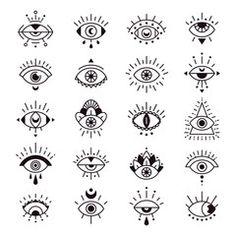Decorative alchemy eyes symbol design, mystic, occult tattoo style vector illustration set - Buy this stock vector and explore similar vectors at Adobe Stock Poke Tattoo, Arm Tattoo, Mini Tattoos, Small Tattoos, Occult Tattoo, Evil Eye Art, Tattoo Schwarz, Eye Illustration, Muster Tattoos