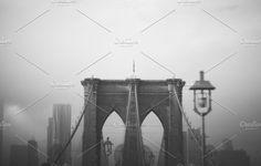 Brooklyn Bridge: Black & White by Sweetmango on @creativemarket