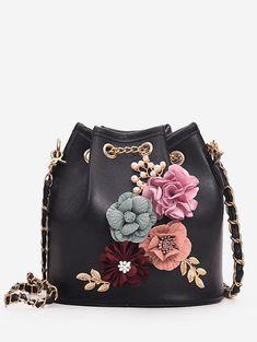 c6e1ebd7f124c 3D Flower Decoration Chain Crossbody Bucket Bag Use code:RGIWD with 25%  discount