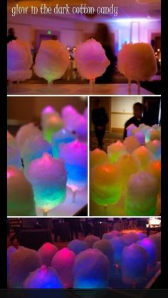 Evening party idea: Put glow sticks in cotton candy. Glow in the dark cotton candy, awesome! 13th Birthday Parties, Slumber Parties, Birthday Ideas, 16th Birthday, Sleepover, Disco Party, Glow In Dark Party, Black Light Party Ideas, Glow Stick Party