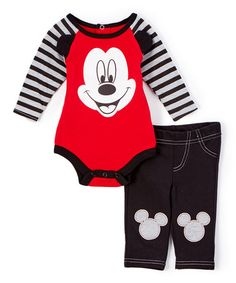Look at this #zulilyfind! Red & Black Mickey Mouse Bodysuit & Pants - Infant #zulilyfinds