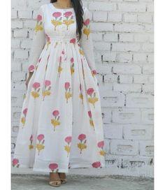 Buy The Secret Label White Cotton Printed Kurti online Simple Kurti Designs, Kurta Designs Women, Printed Kurti Designs, Indian Designer Outfits, Designer Dresses, Indian Dresses, Indian Outfits, Frock Patterns, Kurti Patterns