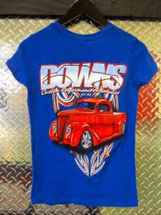Downs Custom Performance Automotive - Women's 1937 Ford Pickup Short Sleeve T-Shirt, Colbalt, $24.99